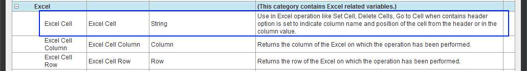 The Excel Cell system variable that is used to contain header.