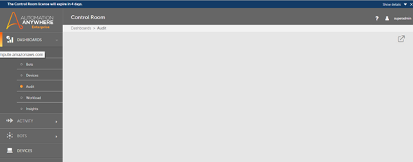 The image displays a blank page appearing in dashboard.