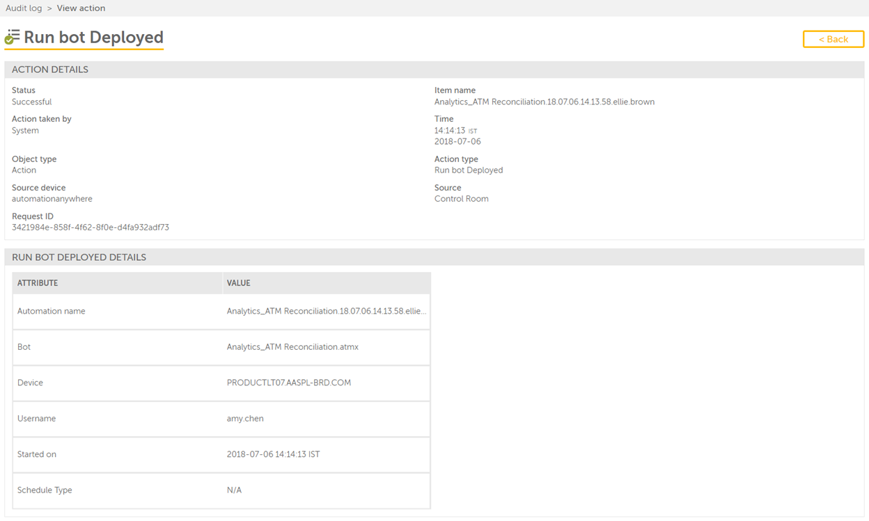 The View actions page on Run Bot Deployed action with Details panel.