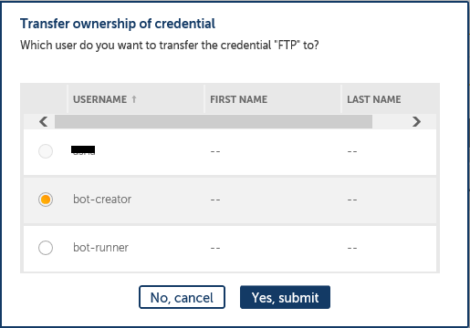 credential ownership transfer confirmation screen