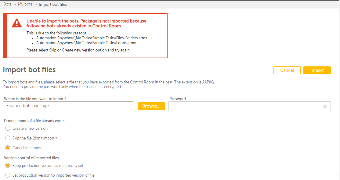 This image shows information about cancelling bot import.