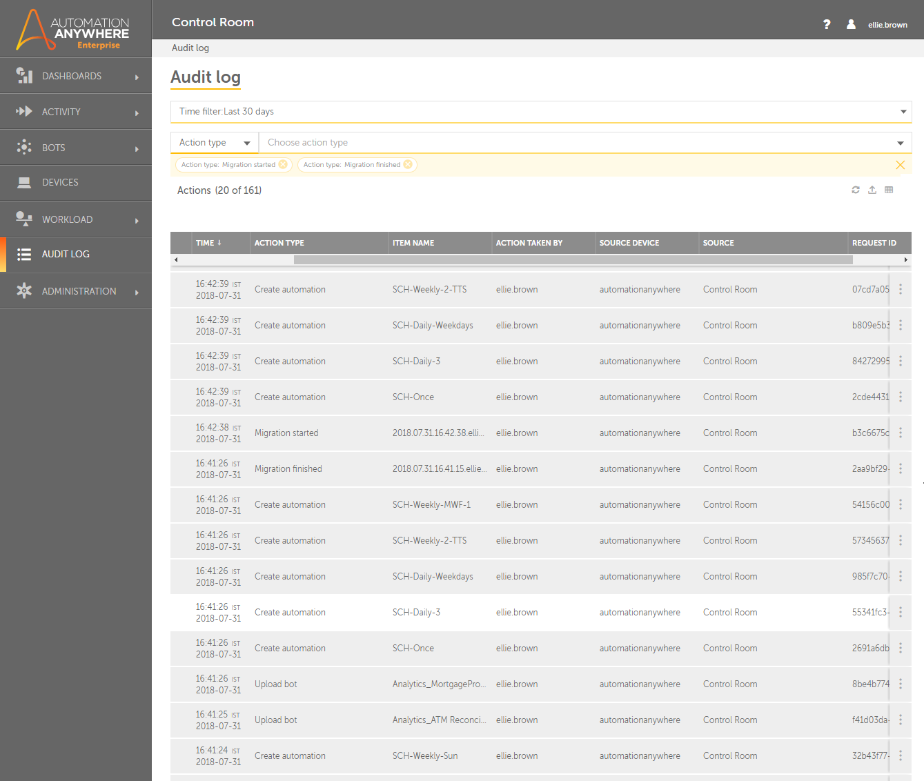 Audit Log showing details of each entity that is migrated