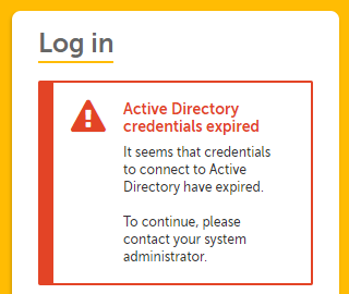 error message during login when active directory credentials have expired.