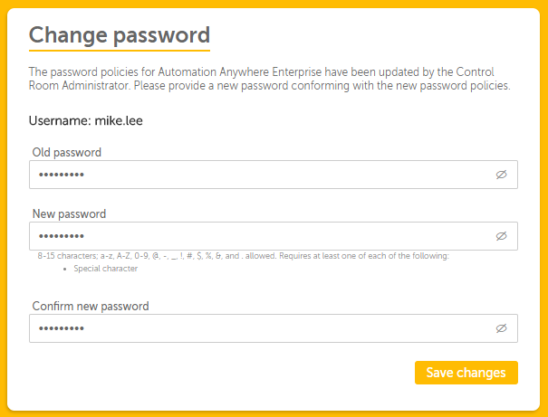 Change password screen to enter and confirm the new password