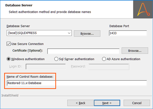 Image displaying the restored 11.x database name when you migrate to Automation 360